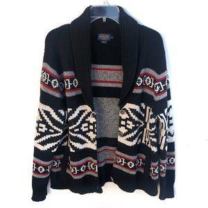 Pendleton Aztec Southwest Shawl Collar Cardigan Lg